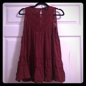 American Eagle Burgundy Lace Tank Top